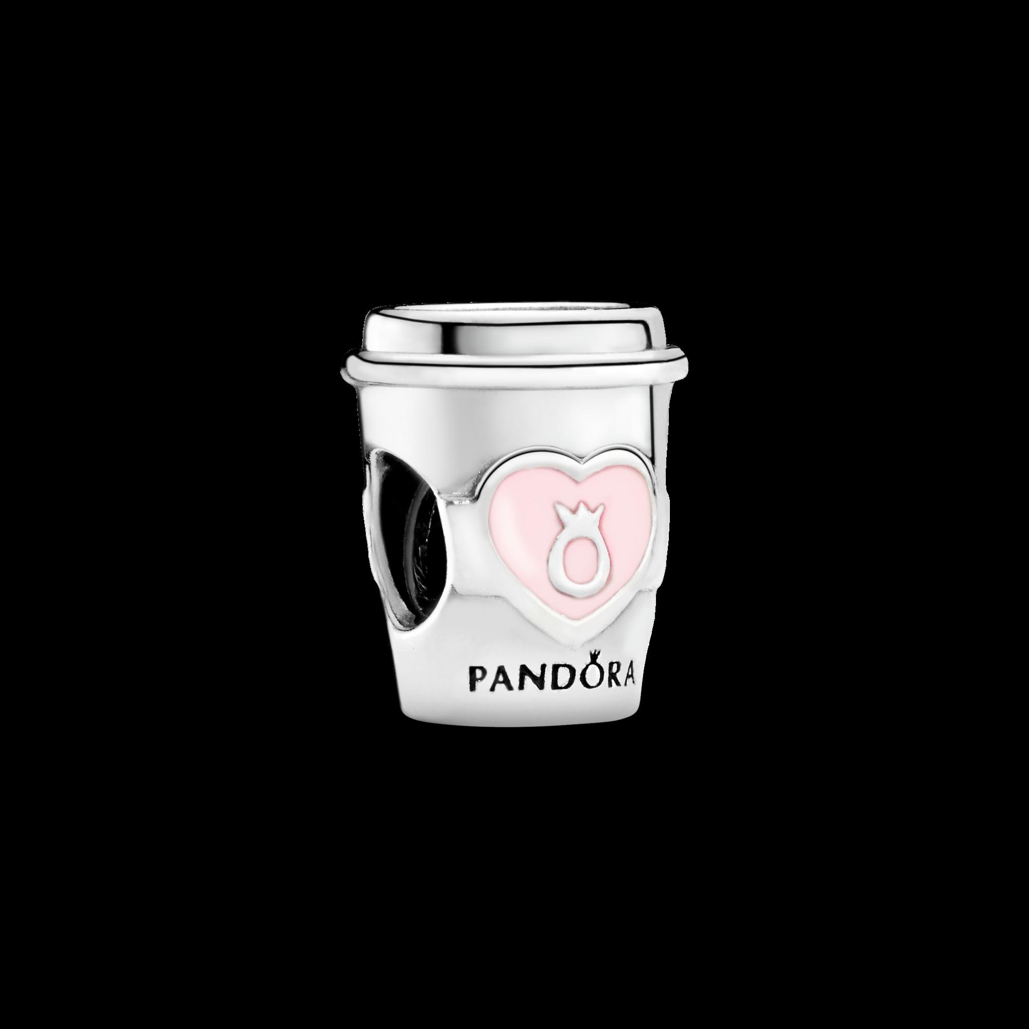 Drink To Go Charm, Pink Enamel, Sterling silver, Enamel, Pink - PANDORA - #797185EN160