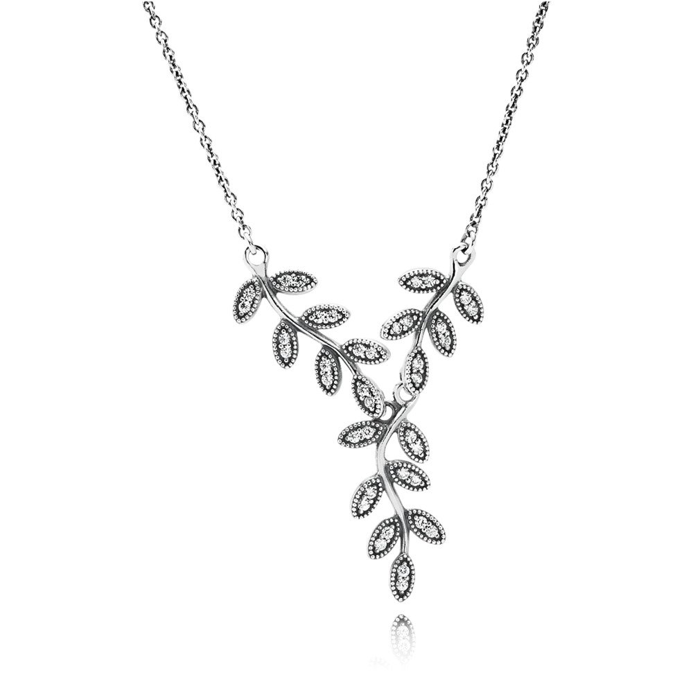Sparkling Leaves Pendant Necklace, Clear CZ, Sterling silver, Cubic Zirconia - PANDORA - #590414CZ
