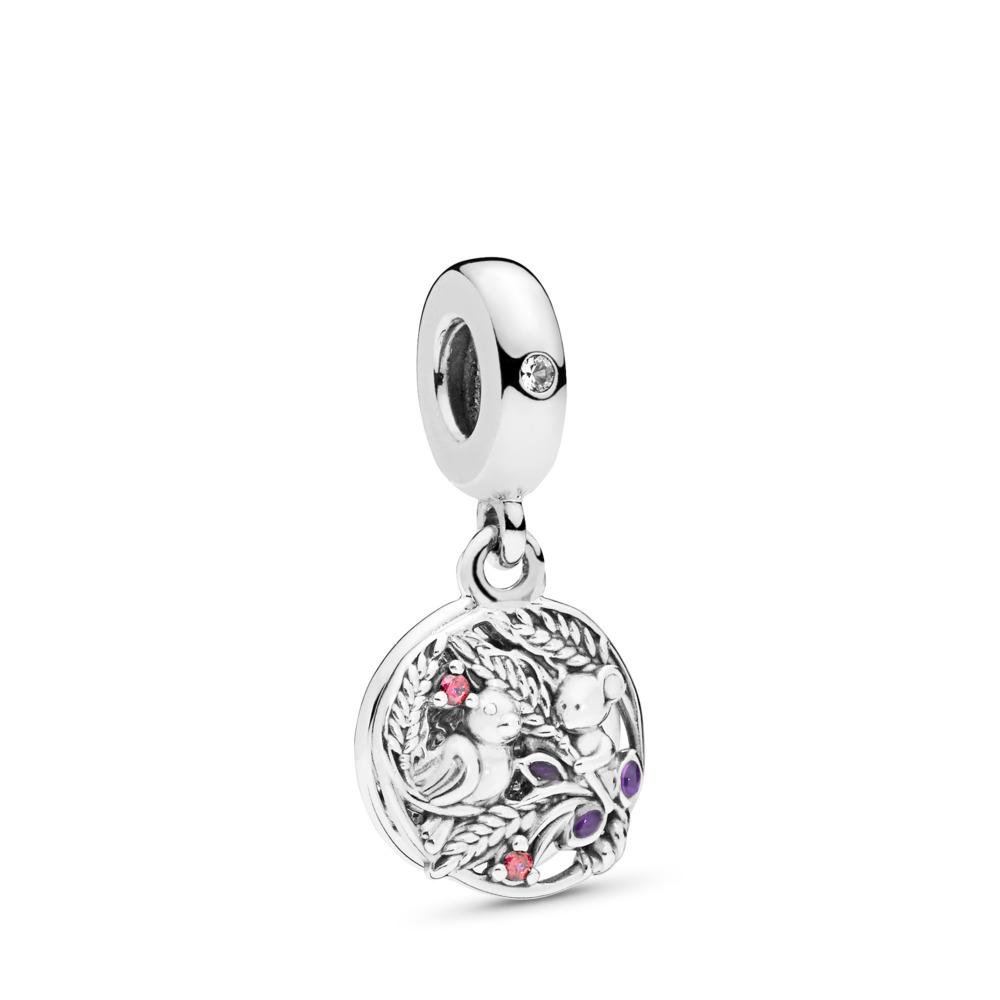 Always By Your Side Dangle Charm, Multi-coloured CZ & Purple Enamel, Sterling silver, Enamel, Purple, Cubic Zirconia - PANDORA - #797671CZRMX