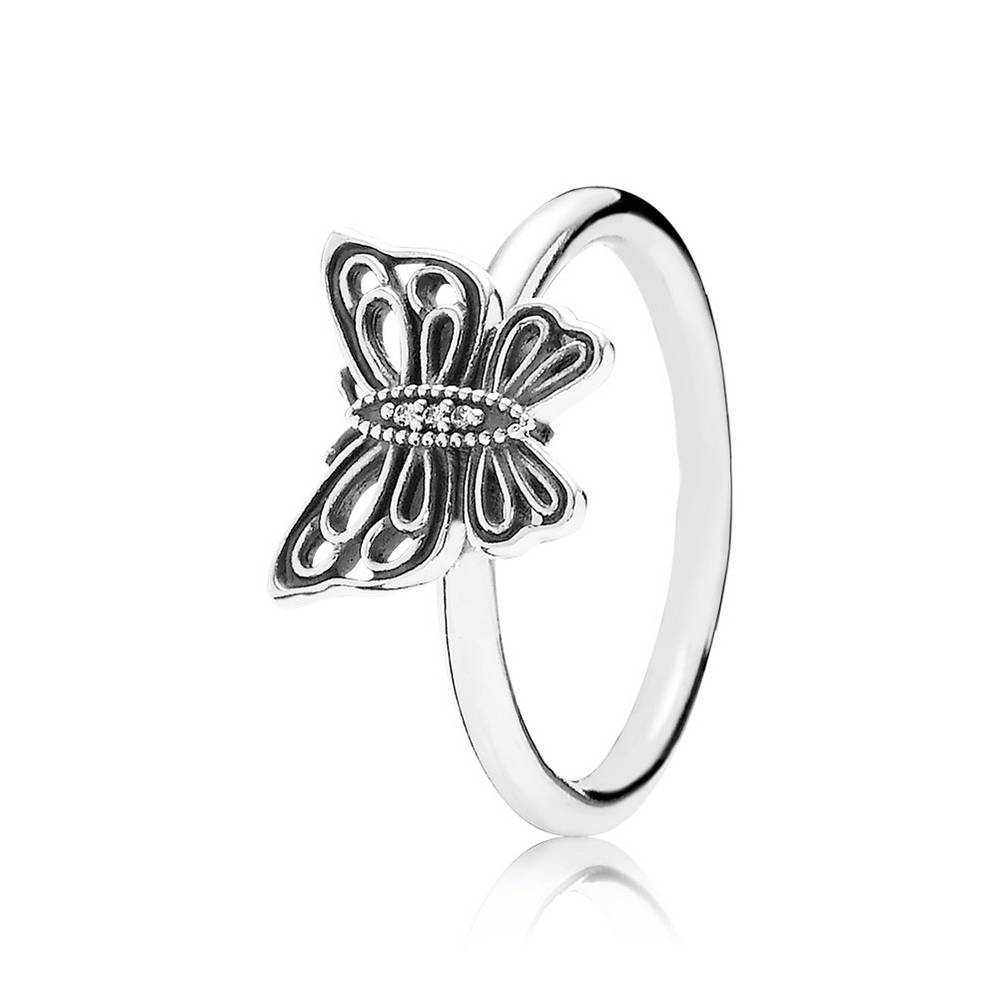 Love Takes Flight Stackable Ring, Clear CZ