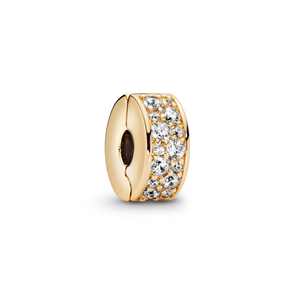 Shining Elegance Clip, PANDORA Shine™ & Clear CZ, 18ct gold-plated sterling silver, Silicone, Cubic Zirconia - PANDORA - #767164CZ