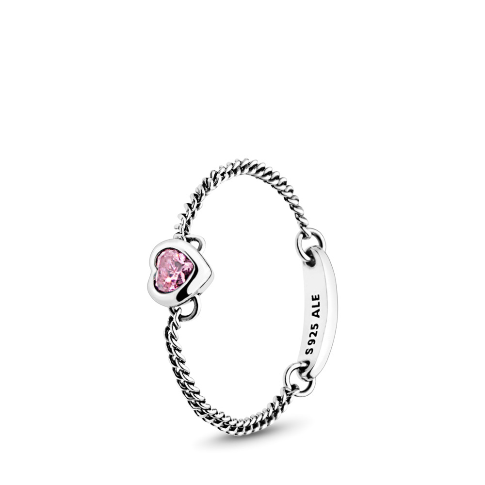 Spirited Heart Ring, Pink CZ, Sterling silver, Pink, Cubic Zirconia - PANDORA - #197191PCZ