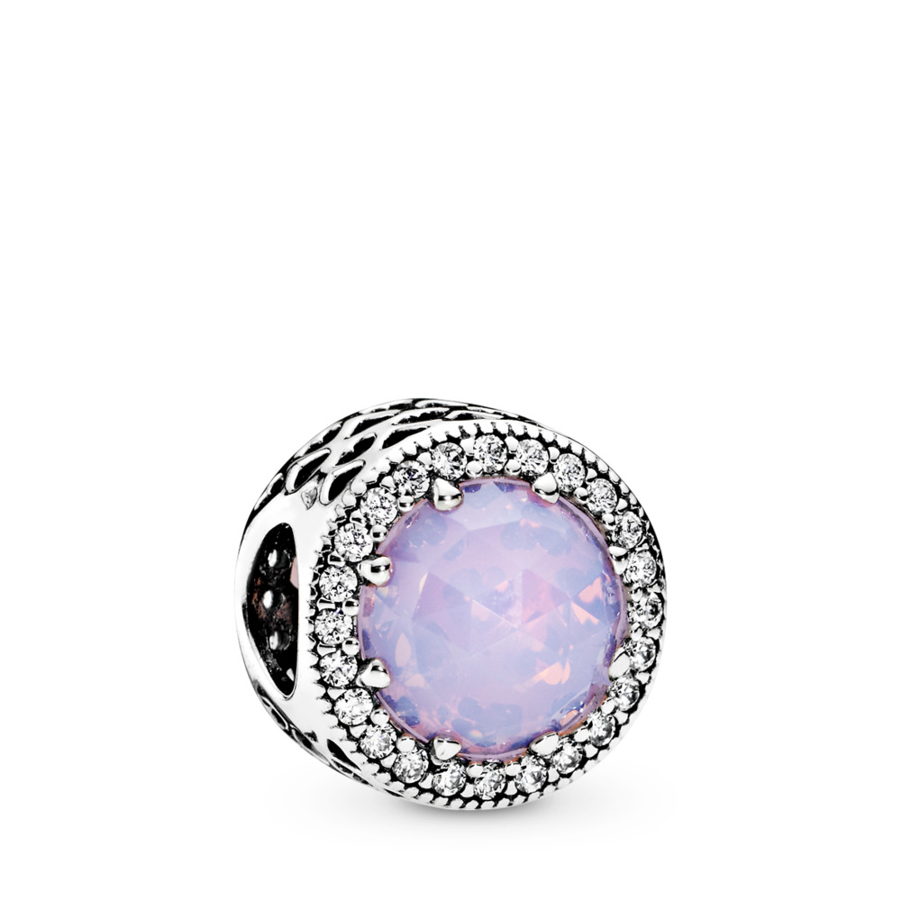 Radiant Hearts, Opalescent Pink Crystal & Clear CZ, Sterling silver, Pink, Mixed stones - PANDORA - #791725NOP