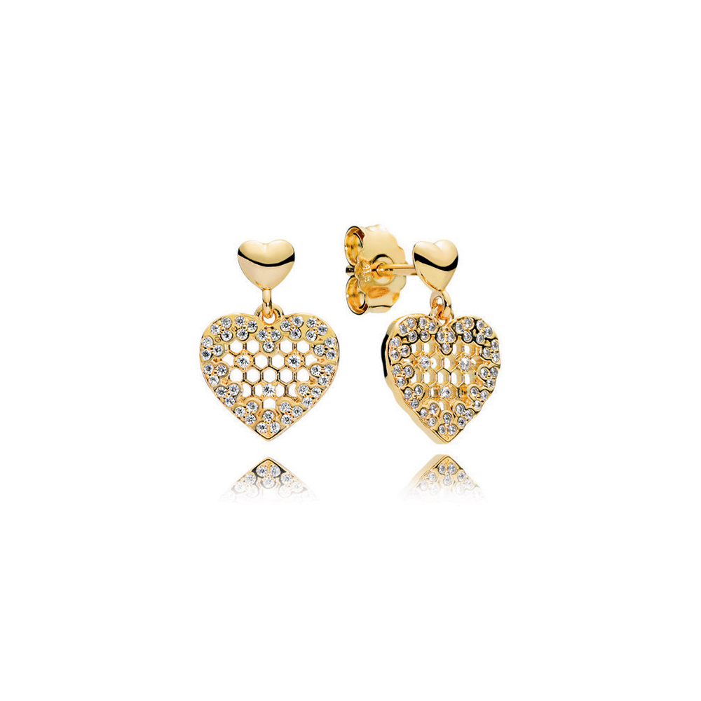 Honeycomb Lace Dangle Earrings, PANDORA Shine™ & Clear CZ
