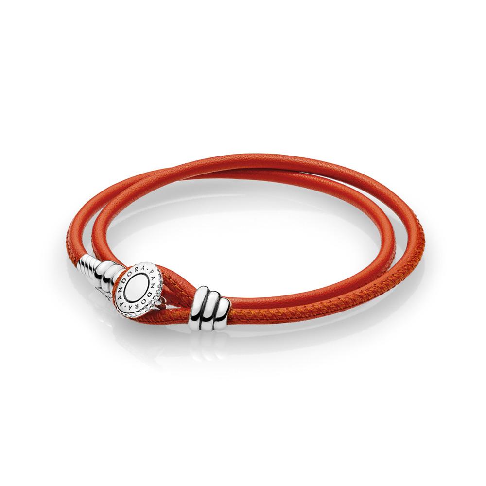 Double bracelet en cuir orange épicée édition limitée, cz incolore, Argent sterling, Cuir, Orange, Zircon cubique - PANDORA - #597194CSO-D