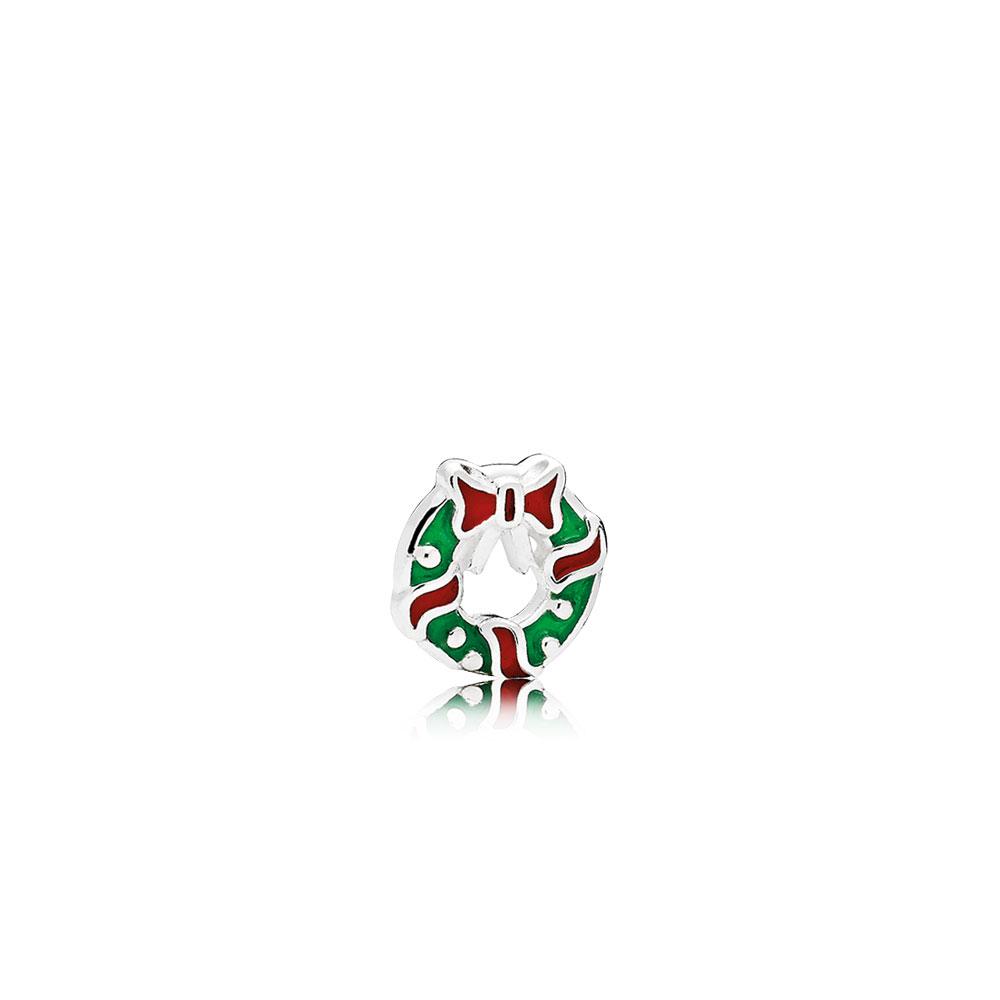 Mini Couronne des fêtes, émaux rouge baie et vert