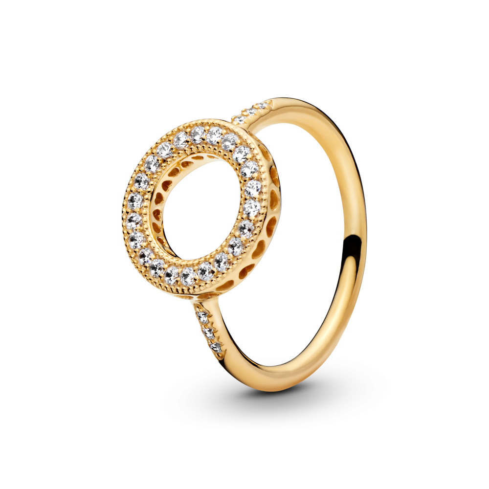 Hearts of PANDORA Halo Ring, PANDORA Shine™, 18ct gold-plated sterling silver, Cubic Zirconia - PANDORA - #167096CZ