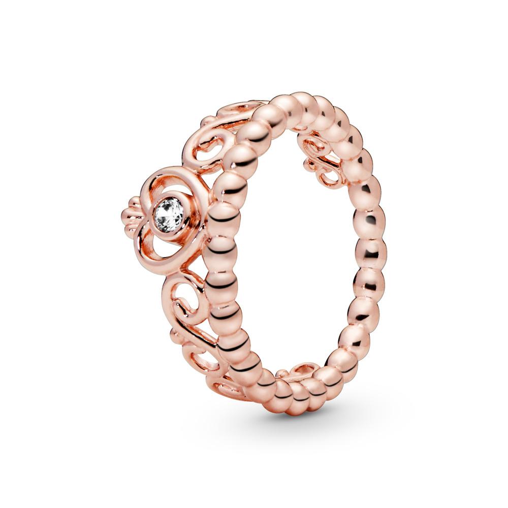 My Princess Tiara Ring, PANDORA Rose™ & Clear CZ, PANDORA Rose, Cubic Zirconia - PANDORA - #180880CZ