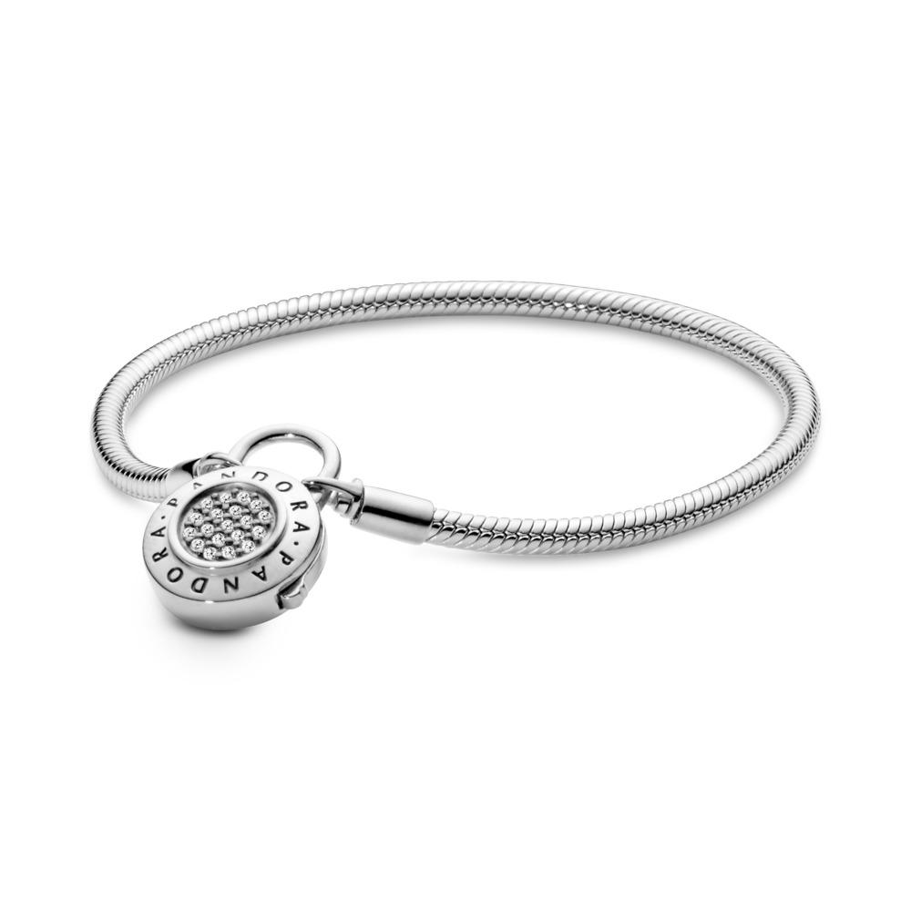 Sterling Silver Charm Bracelet, PANDORA Signature Padlock Clasp, Clear CZ, Sterling silver, Cubic Zirconia - PANDORA - #597092CZ