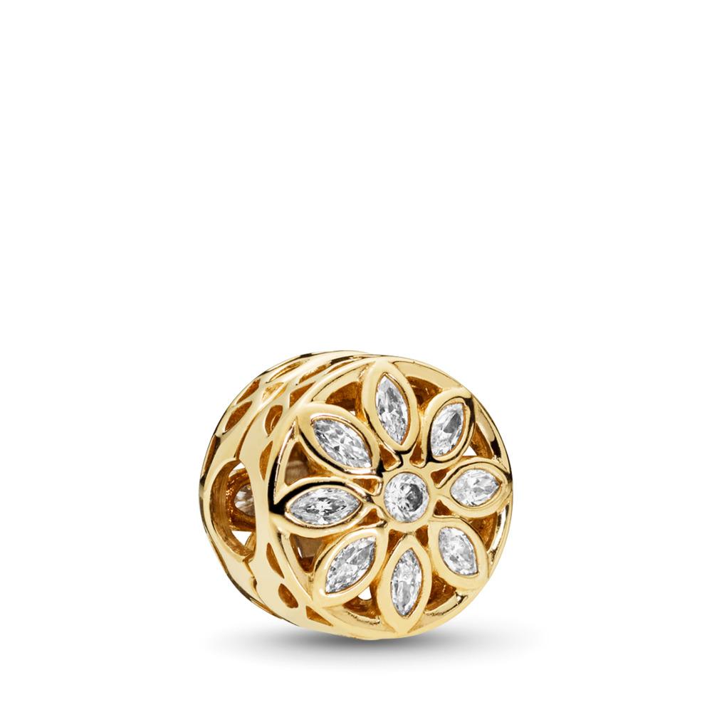 Charm Fleur opulente, or 14ct et cz incolore, Or jaune 14 ct, Aucun autre matériel, Aucune couleur, Zircon cubique - PANDORA - #757639CZ