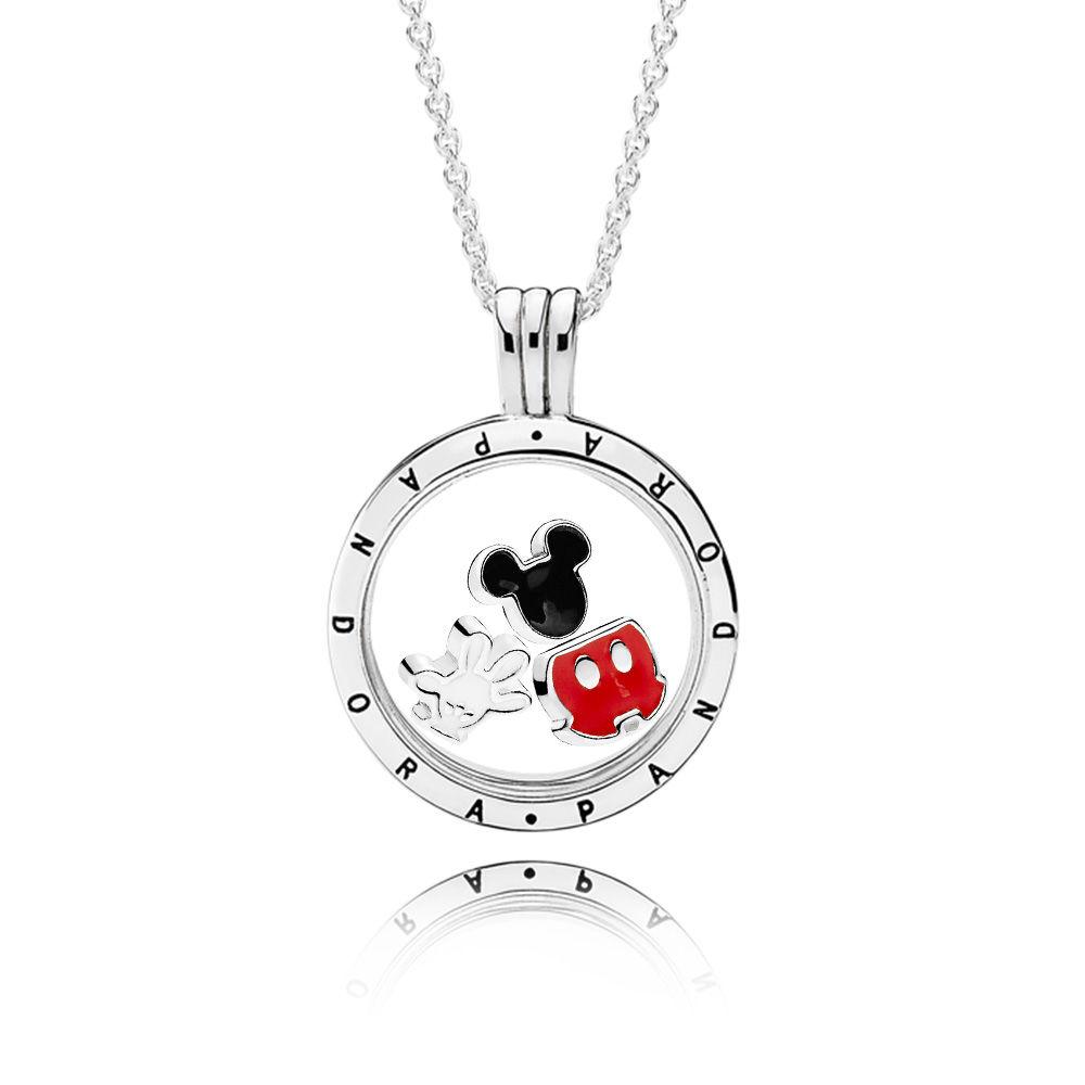 Disney Mickey Mouse PANDORA Locket Necklace Set