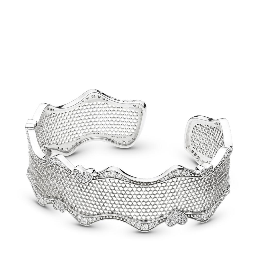 Bracelet-manchette Dentelle d'amour, cz incolore, Argent sterling, Aucun autre matériel, Aucune couleur, Zircon cubique - PANDORA - #597704CZ
