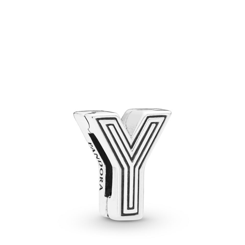 Charm Lettre Y Pandora Reflexions, Argent sterling, Silicone, Aucune couleur, Aucune pierre - PANDORA - #798221