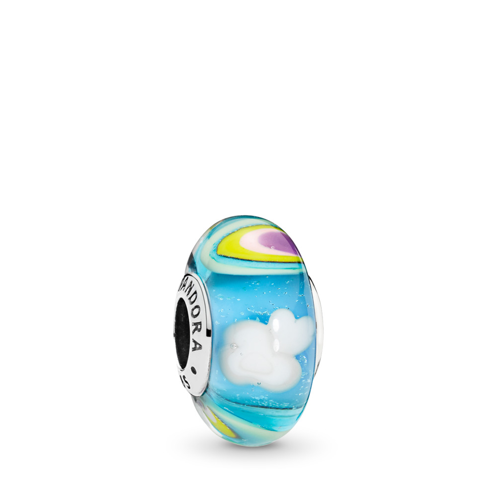 Iridescent Rainbow Murano Glass Charm, Sterling silver, Glass, Blue - PANDORA - #797013