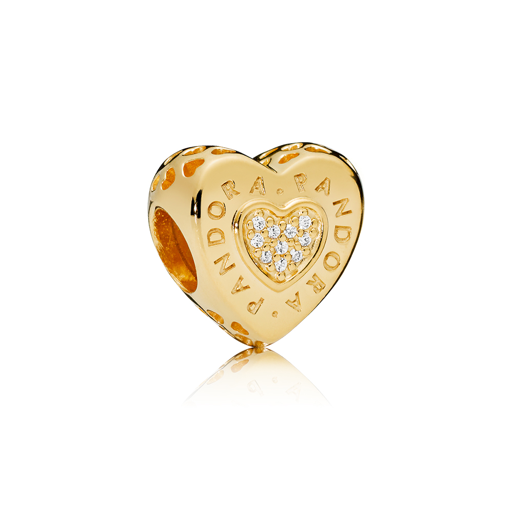 PANDORA Signature Heart Charm, PANDORA Shine™ & Clear CZ