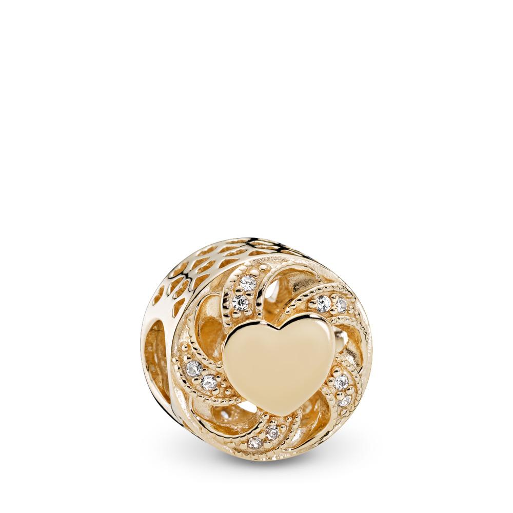 Ribbon Heart, Clear CZ, Yellow Gold 14 k, Cubic Zirconia - PANDORA - #751004CZ