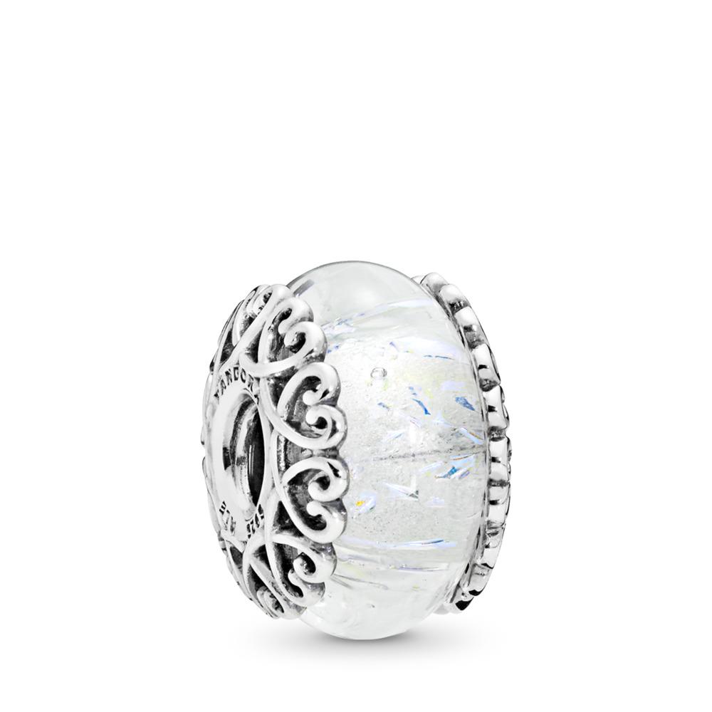 Charm en verre blanc iridescent, Argent sterling, Verre, Blanc, Aucune pierre - PANDORA - #797617