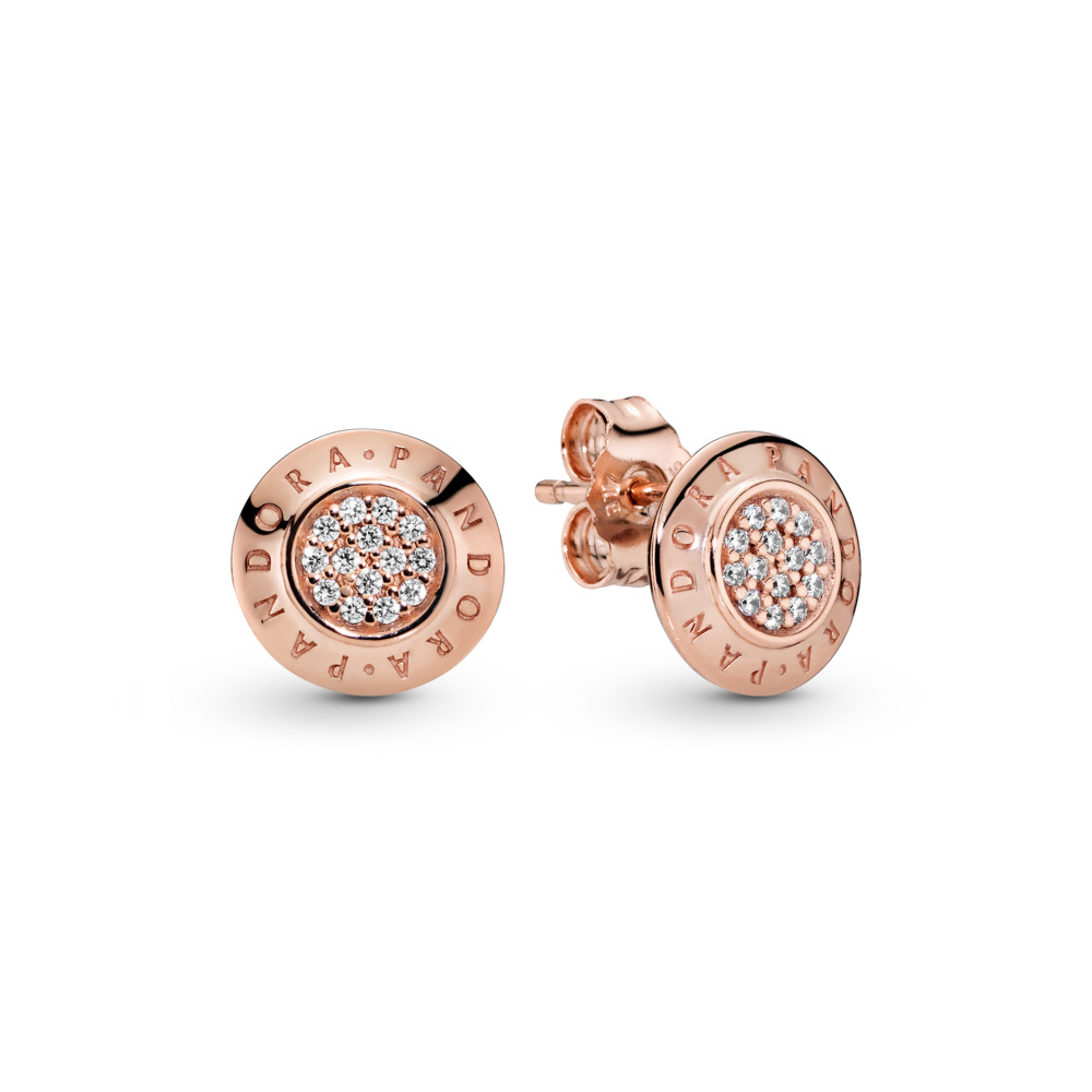 PANDORA Rose™ Signature Earrings, Clear CZ, PANDORA Rose, Cubic Zirconia - PANDORA - #280559CZ