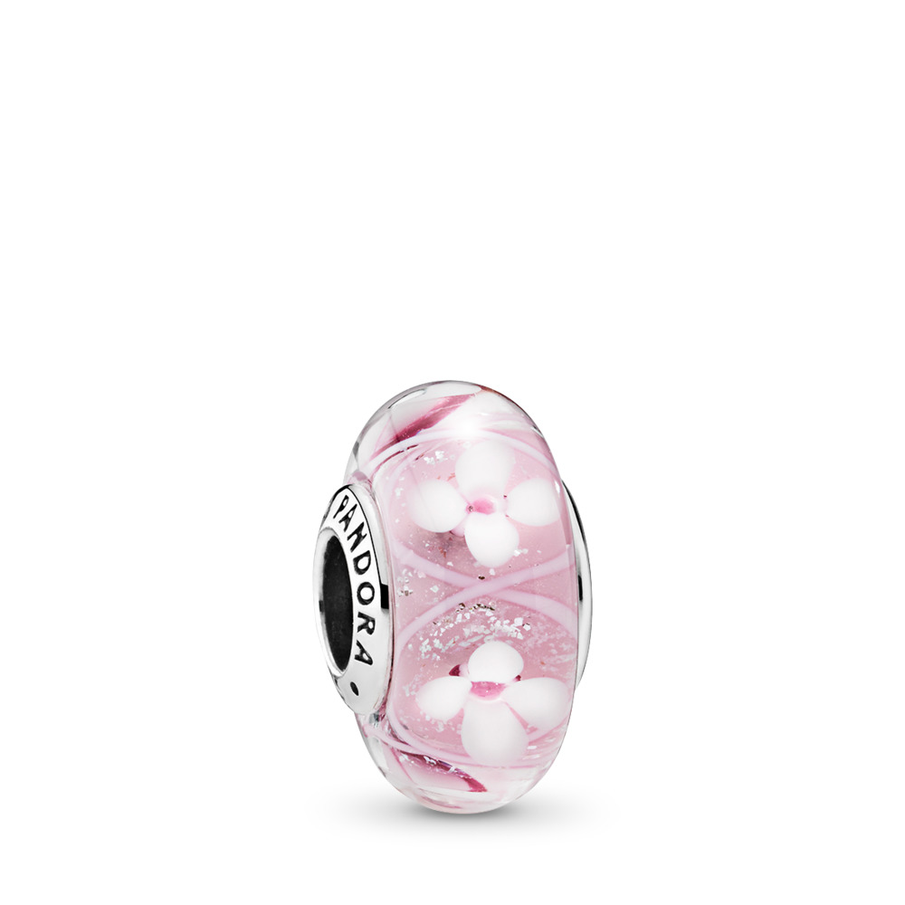 Pink Field of Flowers, Sterling silver, Glass, Pink - PANDORA - #791665