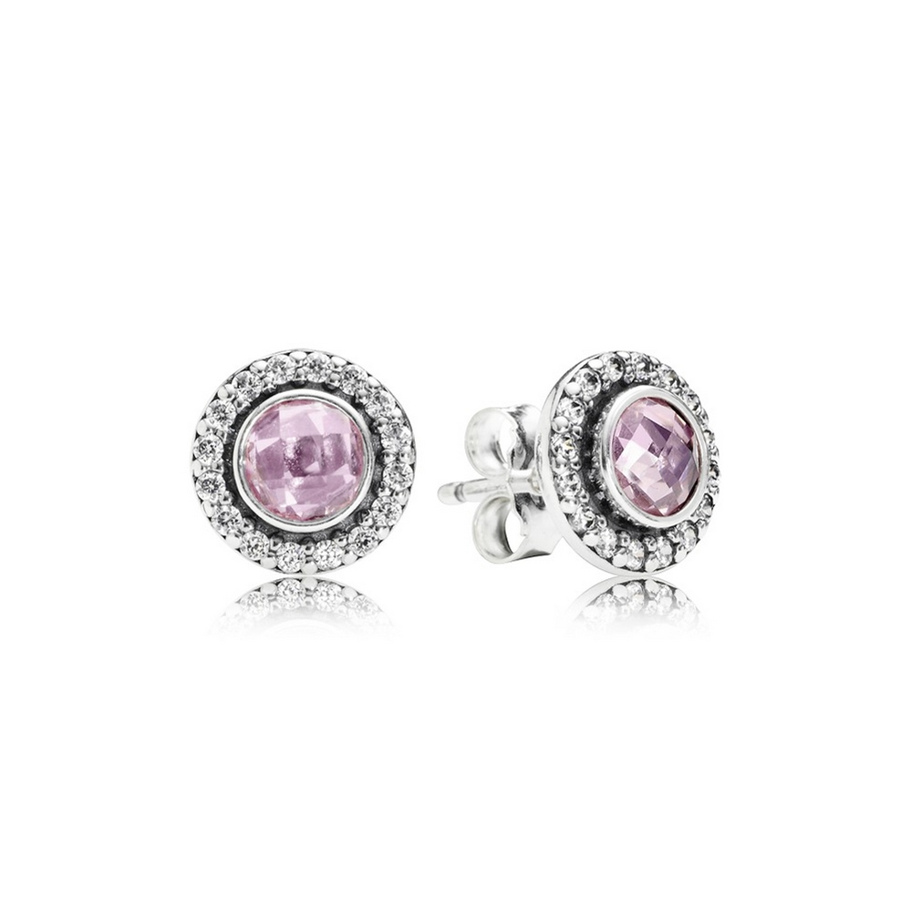 Brilliant Legacy Stud Earrings, Pink & Clear CZ