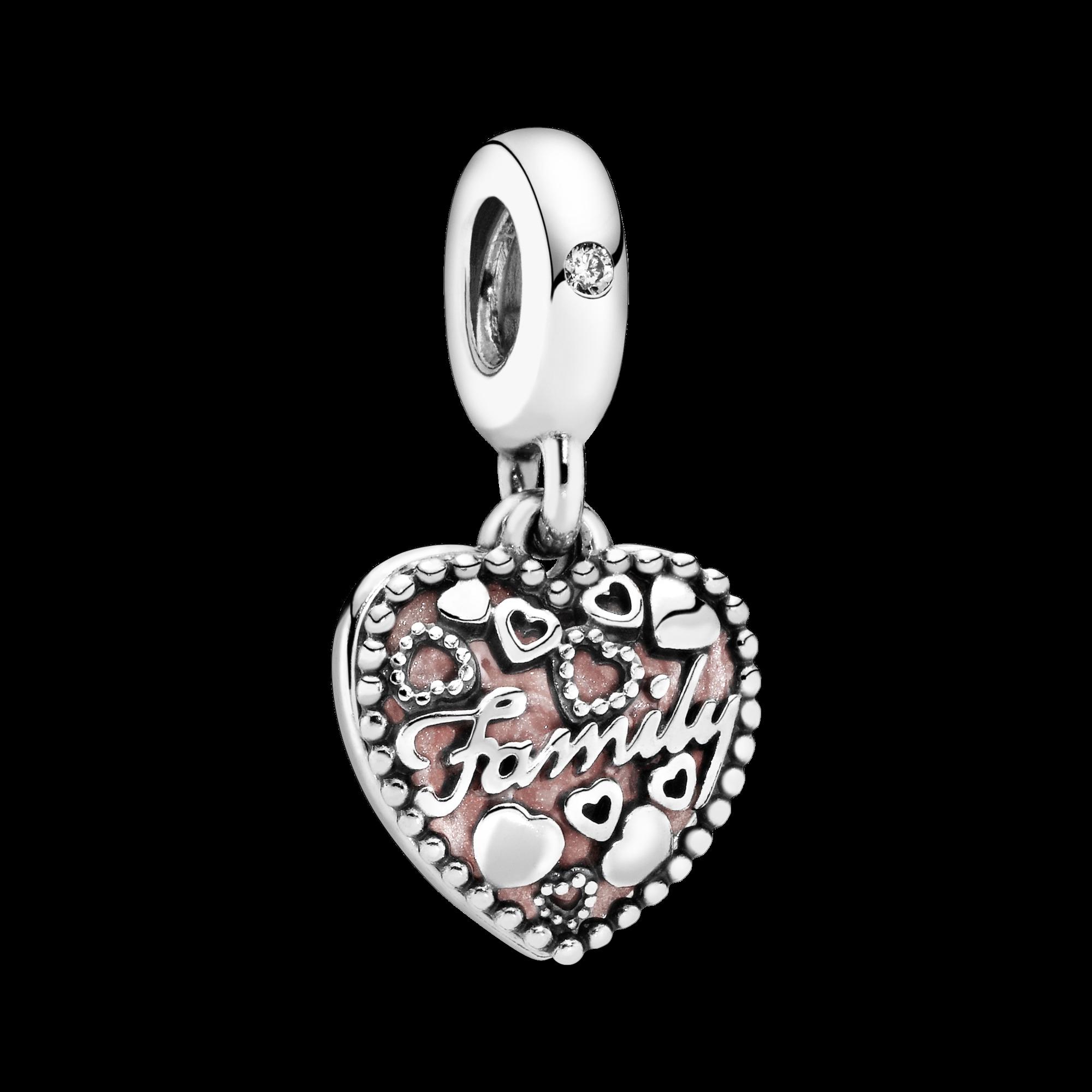 L'amour forme une famille, émail rose et cz incolore, Argent sterling, émail, Rose, Zircon cubique - PANDORA - #796459EN28