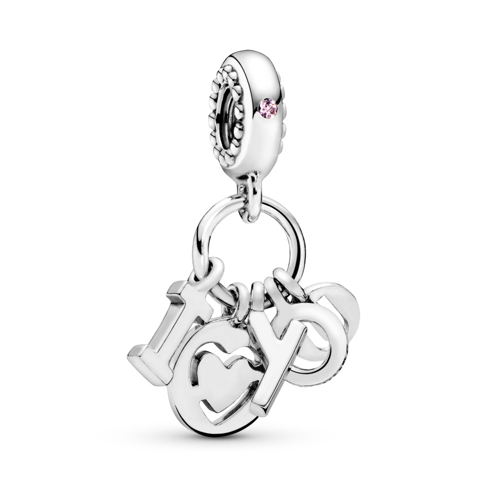I Love You Dangle Charm, Fancy Fuchsia Pink CZ, Sterling silver, Pink, Cubic Zirconia - PANDORA - #796596FPC