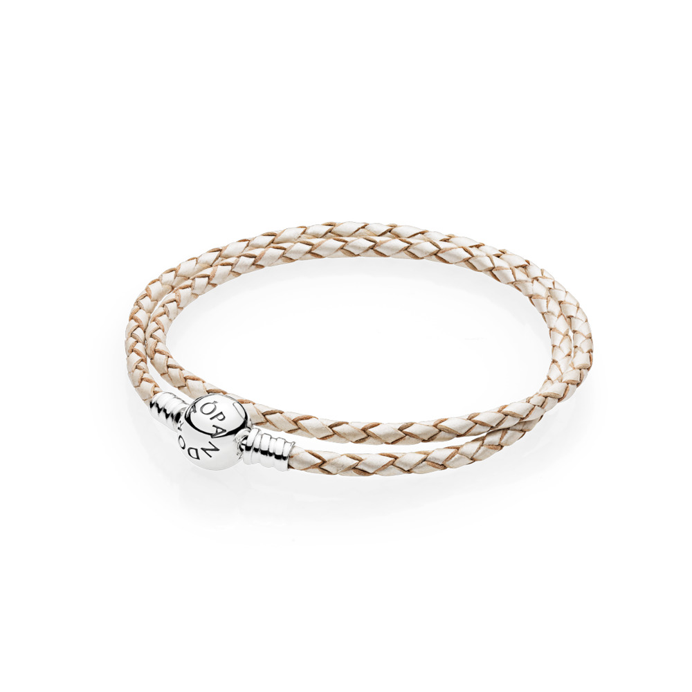 648aaa5da Champagne-Colored Braided Double-Leather Charm Bracelet, Sterling silver,  Leather, White
