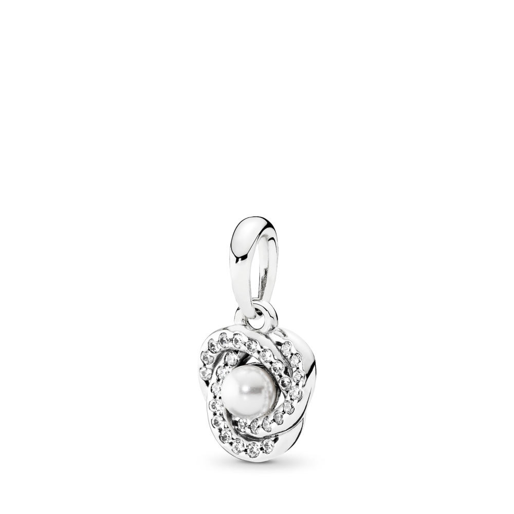Luminous Love Knot, White Crystal Pearl & Clear CZ, Sterling silver, White, Mixed stones - PANDORA - #390401WCP