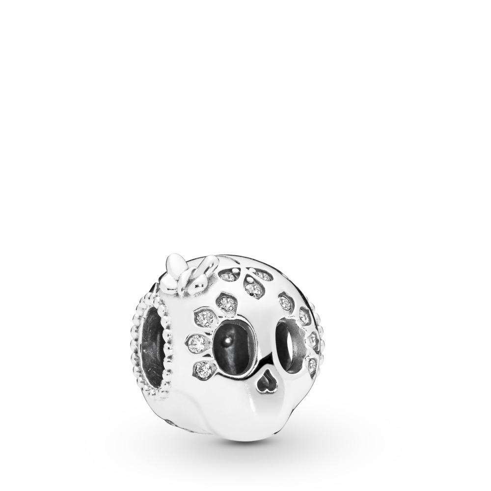 Sparkling Skull Charm, Sterling silver, Cubic Zirconia - PANDORA - #797866CZ