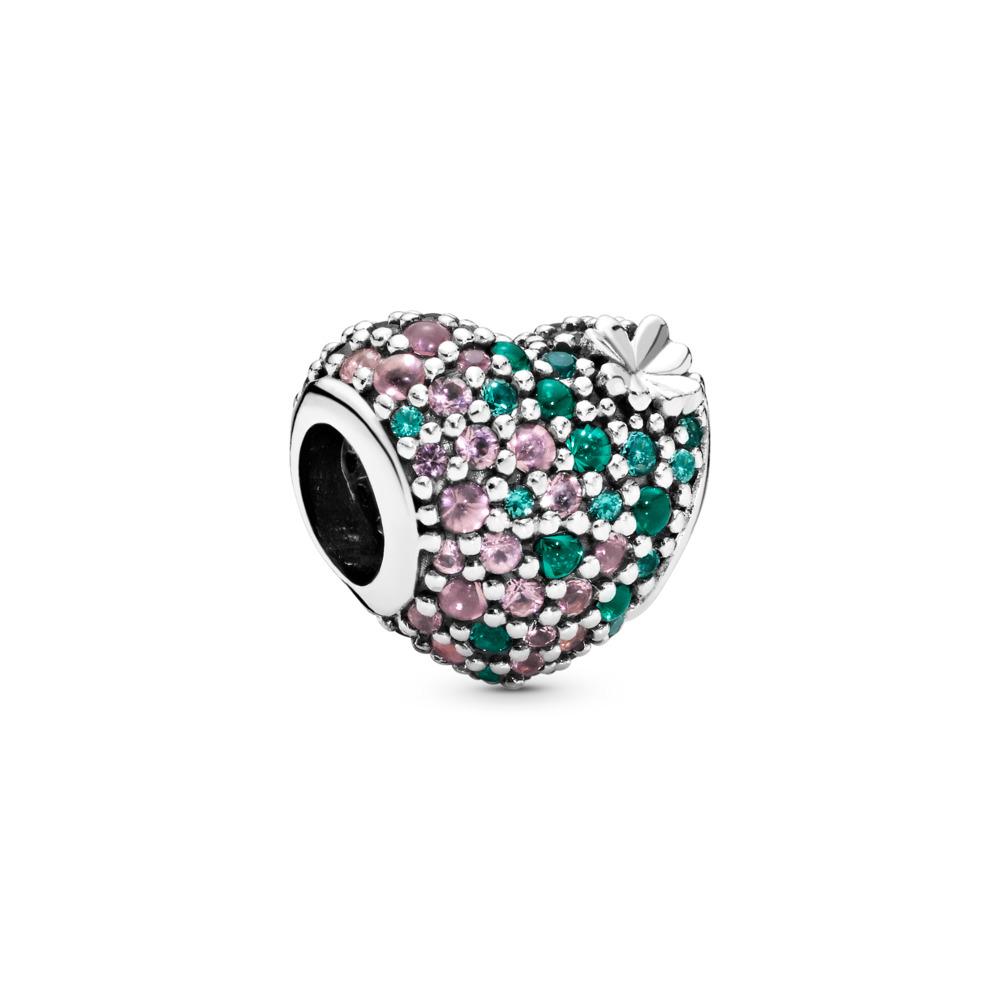 Charm Cœur en trèfle brillant, Argent sterling, Aucun autre matériel, Vert, Cristal - PANDORA - #797869NRGMX