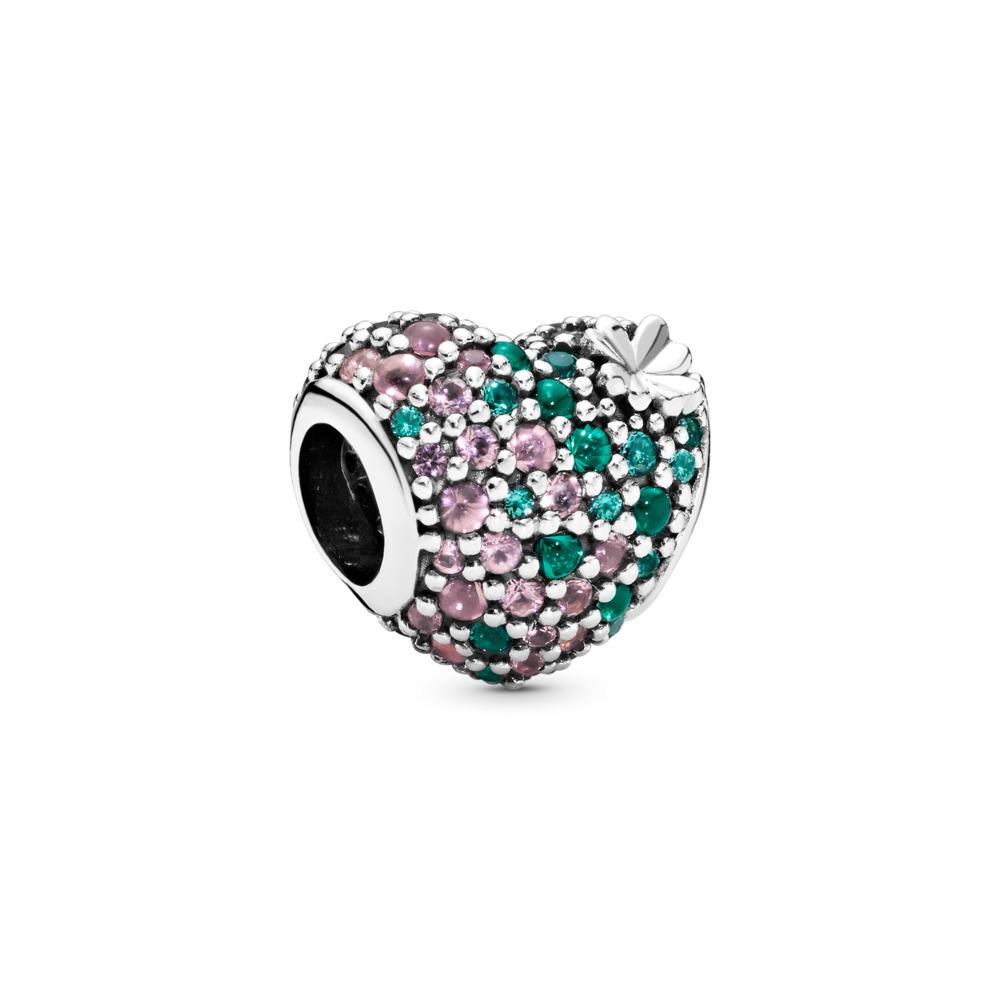 Gleaming Clover Heart Charm, Sterling silver, Green, Crystal - PANDORA - #797869NRGMX