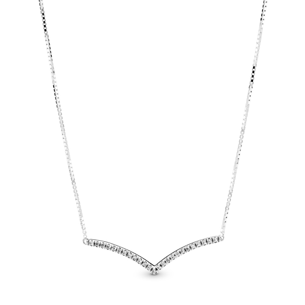 Shimmering Wish Necklace, Sterling silver, Silicone, Cubic Zirconia - PANDORA - #397802CZ