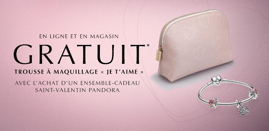 En ligne et en magasin: gratuit trousse à maquillage « Je T'aime » avec l'achat d'un ensemble-cadeau saint-valentin PANDORA