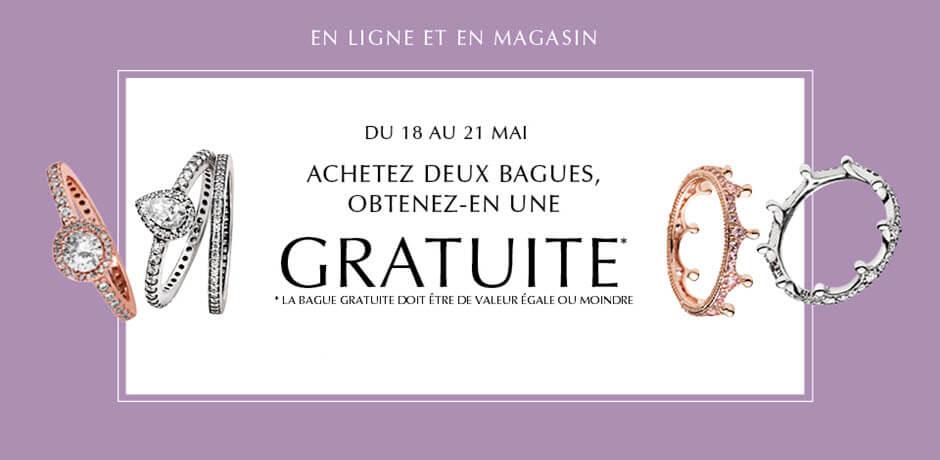 En Ligne Et En Magasin du 18 au 21 mai: Achetez deux bagues, obtenez-en une gratuite. La bague gratuite doit etre de valeur egale ou moindre