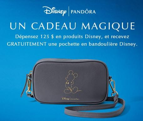 Pour une duree limitee seulement. Un cadeau Magique. Depensez 124 $ en produits Disney, et recevez GRATUITEMENT une pochette en bandouliere Disney.