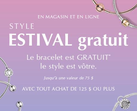 En magasin et en ligne. Style estival gratuit. Le bracelet est GRATUIT* le style est votre. Jusqu'à une valeur de 75 $ avec tout achat de 125 $ ou plus.